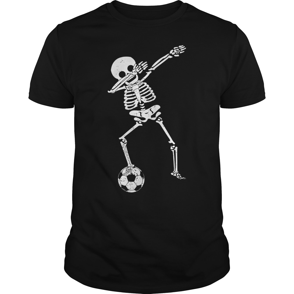 Halloween Dabbing Skeleton Soccer Guys Tee