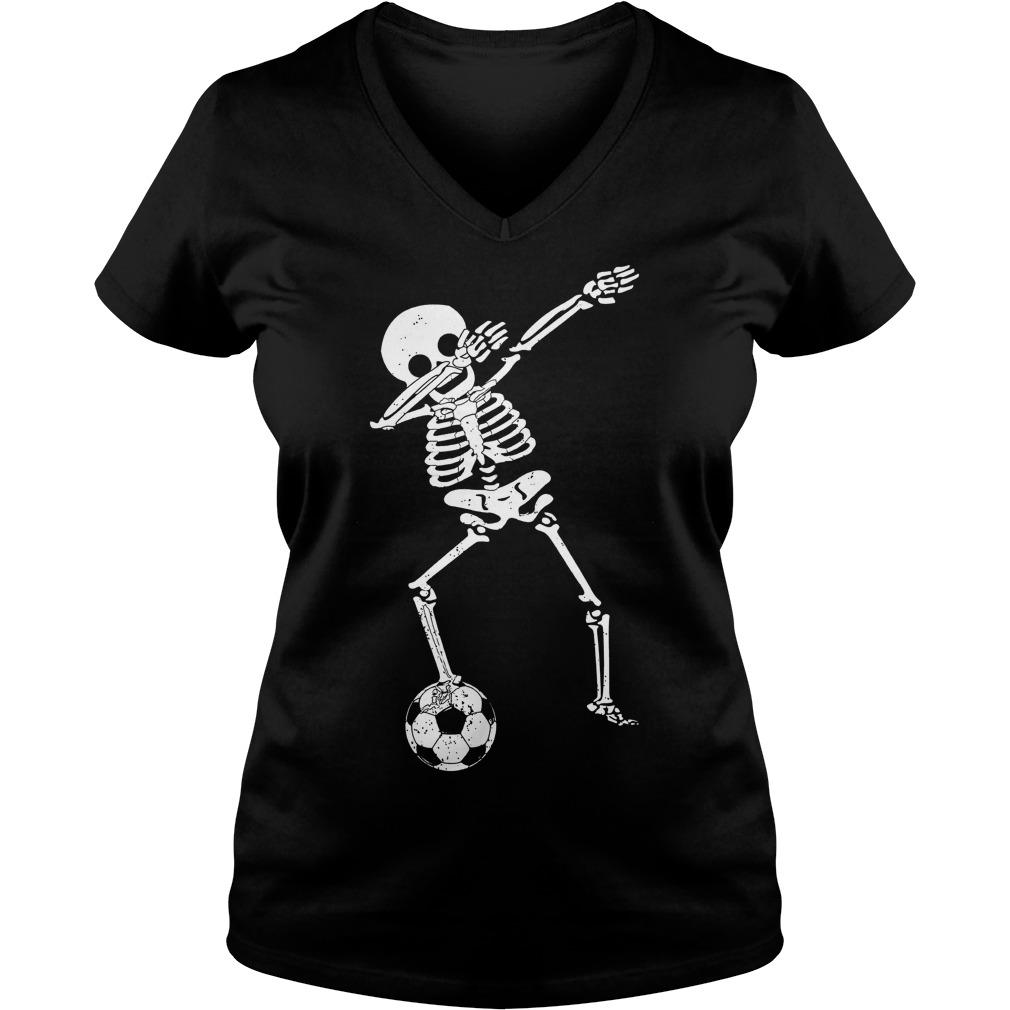 Halloween Dabbing Skeleton Soccer Ladies V Neck
