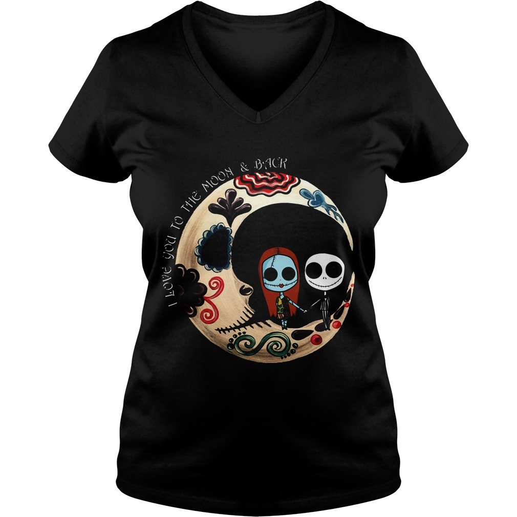 Halloween I Love You To The Moon And Back Ladies V Neck