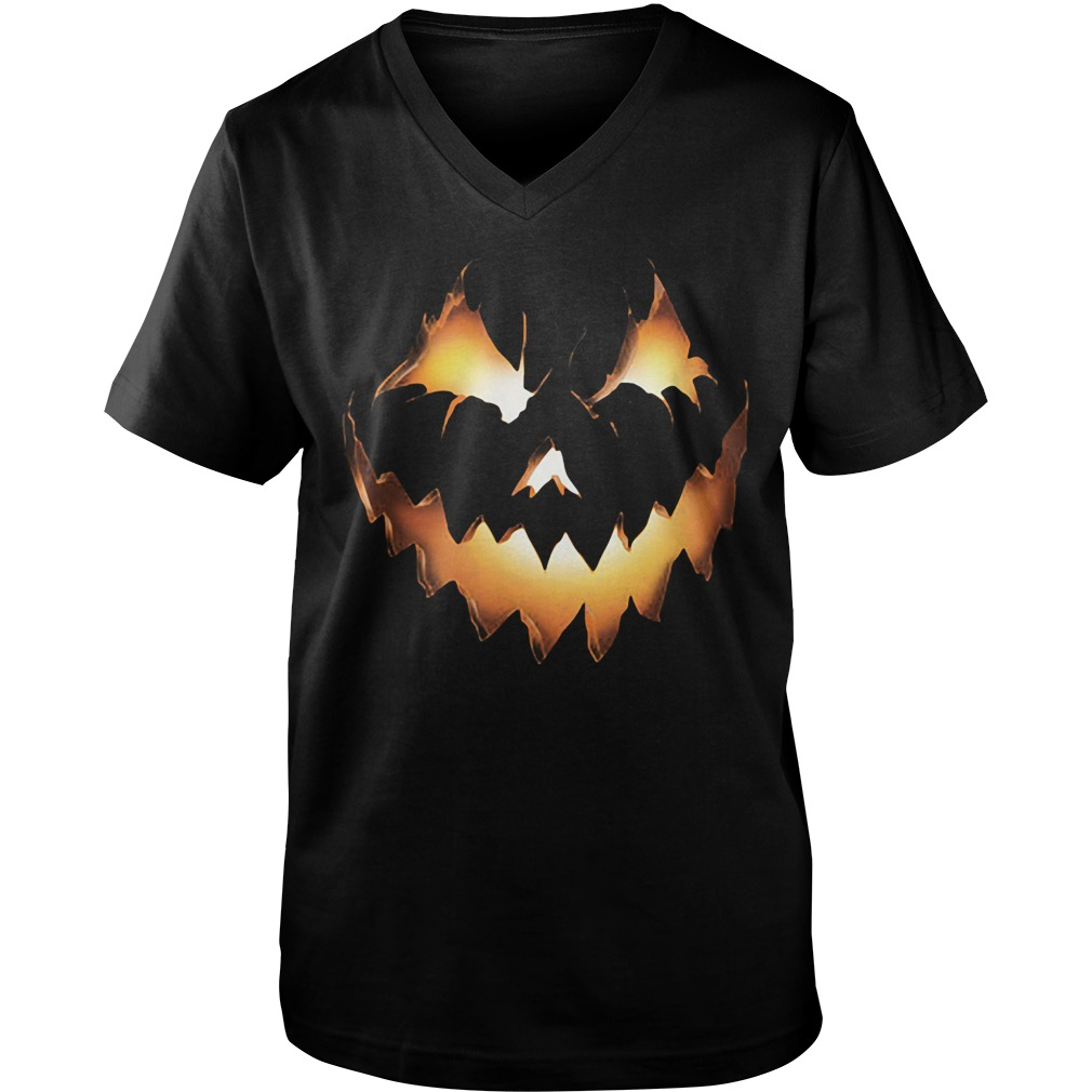 Halloween Pumpkin Jack O Lantern Guys V Neck