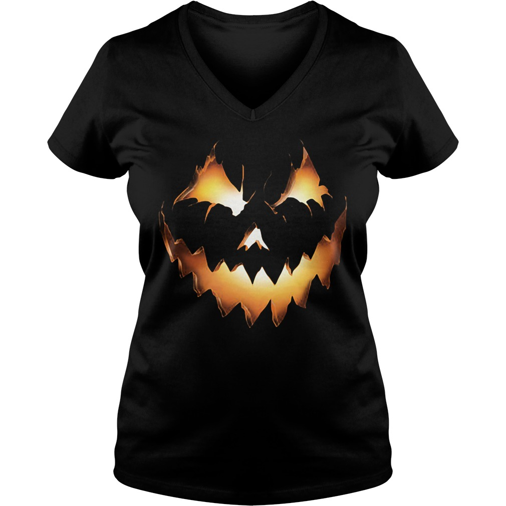 Halloween Pumpkin Jack O Lantern Ladies V Neck