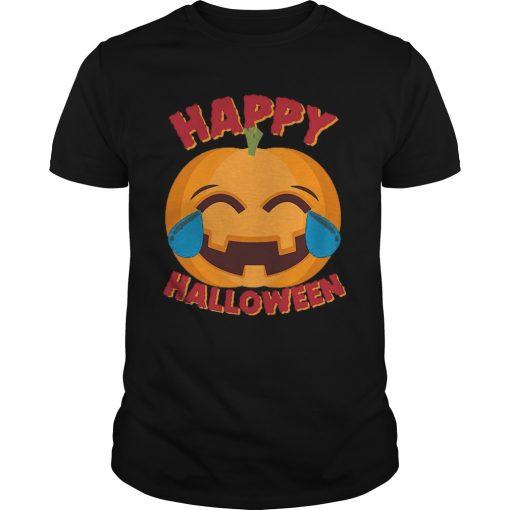 Happy Halloween Emoji Pumpkin Guys Tee