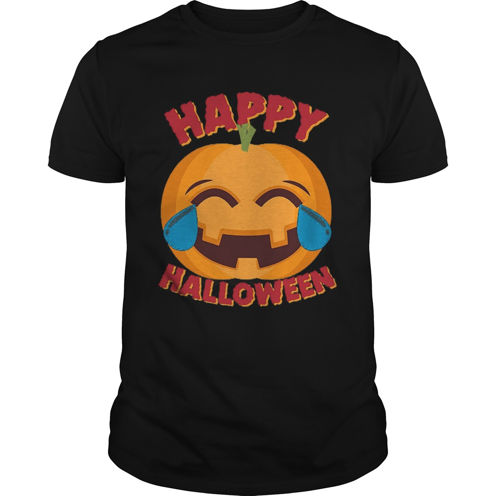 Happy Halloween Emoji Pumpkin Guys Tee