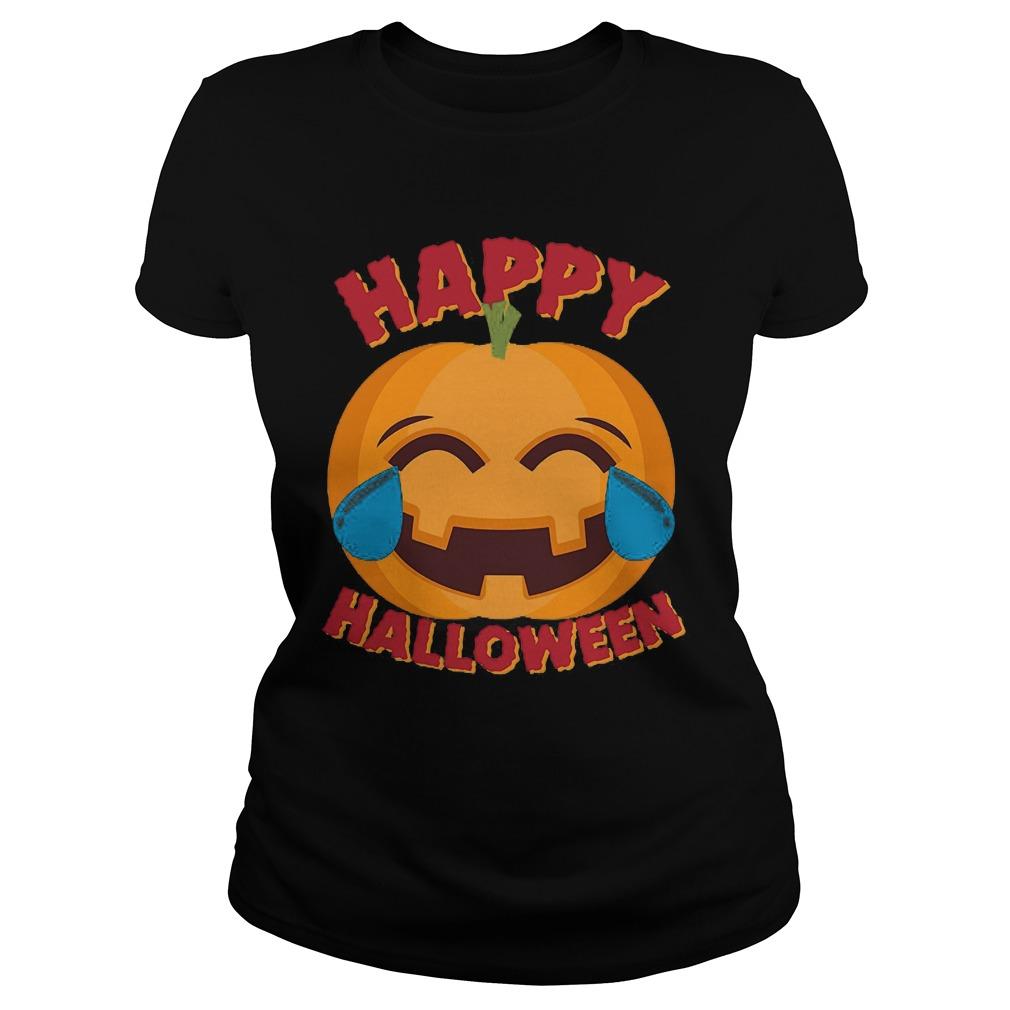 Happy Halloween Emoji Pumpkin Shirt, Hoodie, Sweater, Ladies T-Shirt