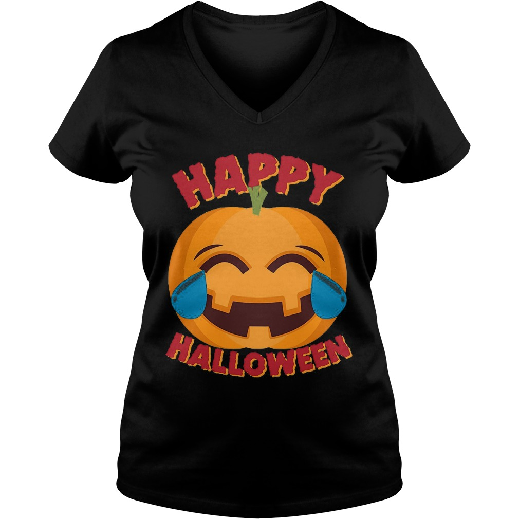 Happy Halloween Emoji Pumpkin Ladies V Neck