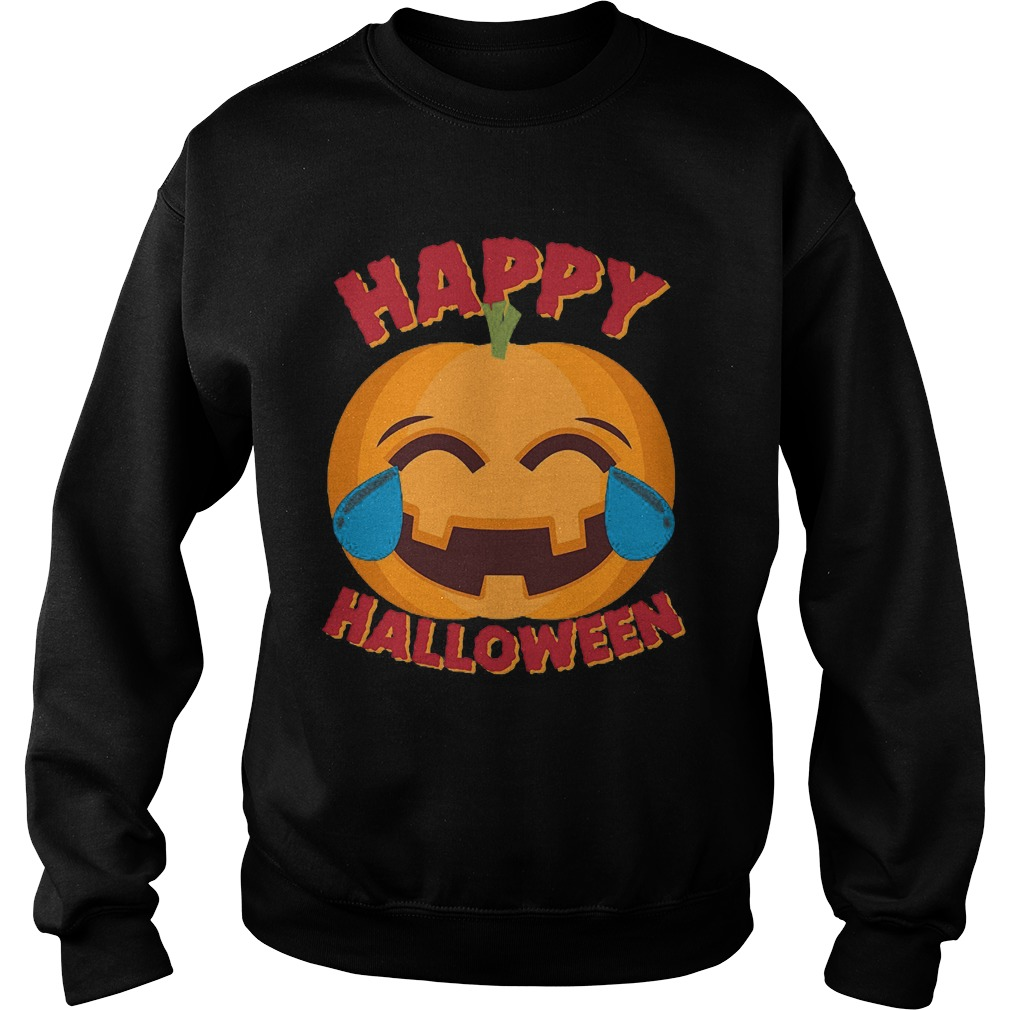 Happy Halloween Emoji Pumpkin Sweat Shirt