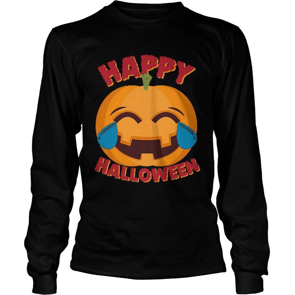 Happy Halloween Emoji Pumpkin Unisex Longsleeve Tee
