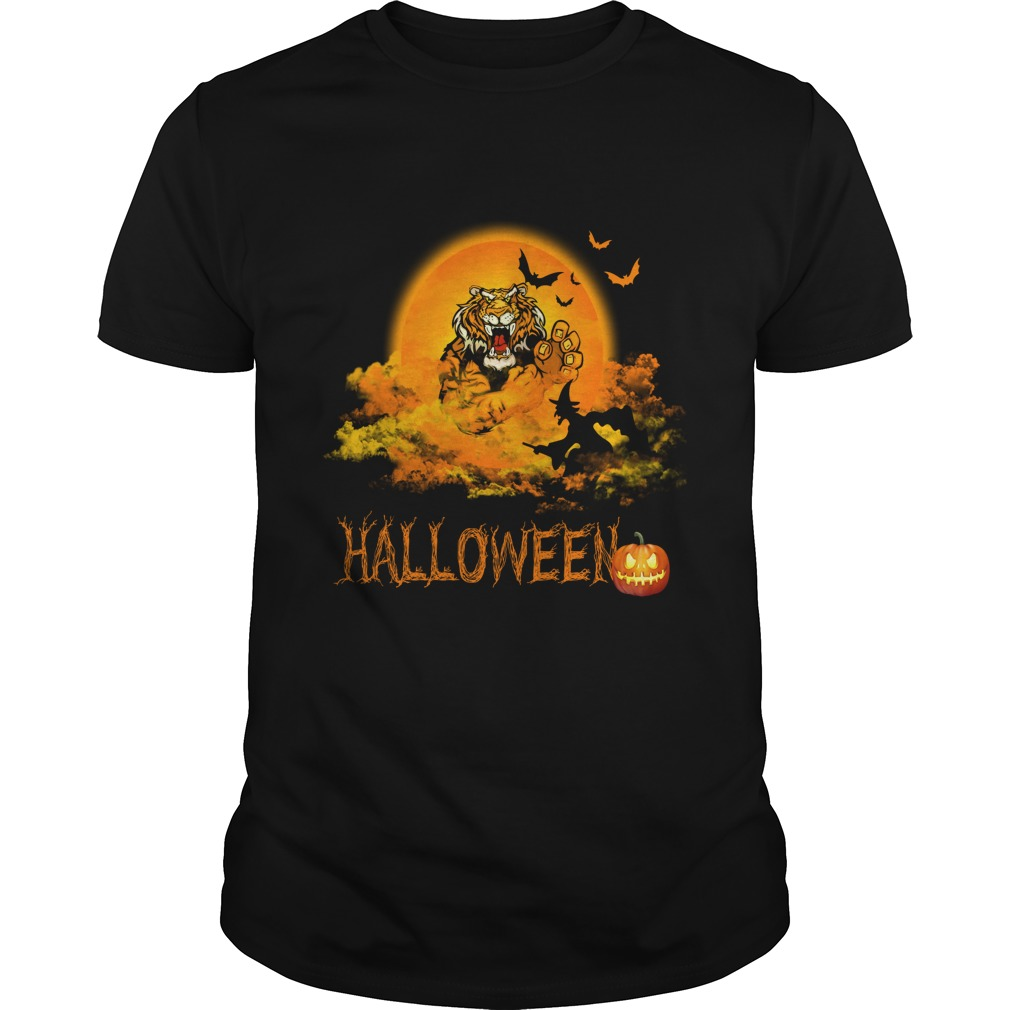 Happy Halloween Tiger Witches Guys Tee