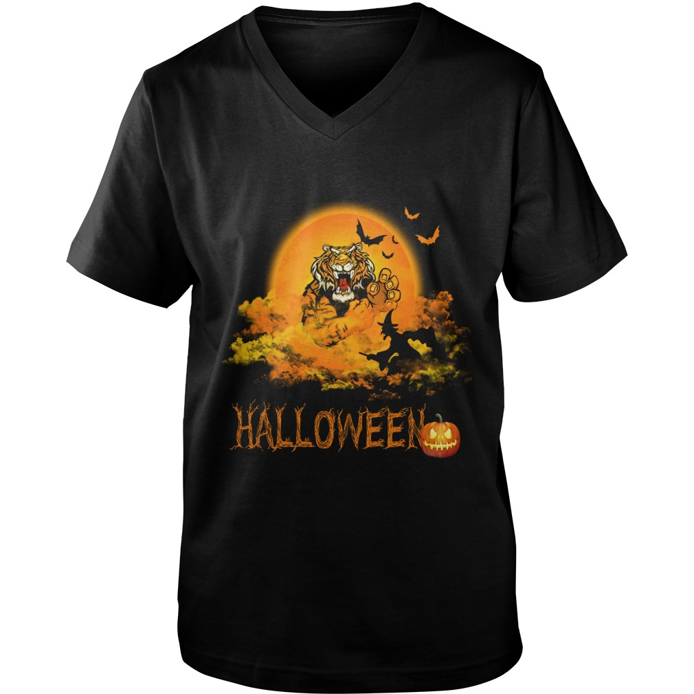 Happy Halloween Tiger Witches Guys V Neck