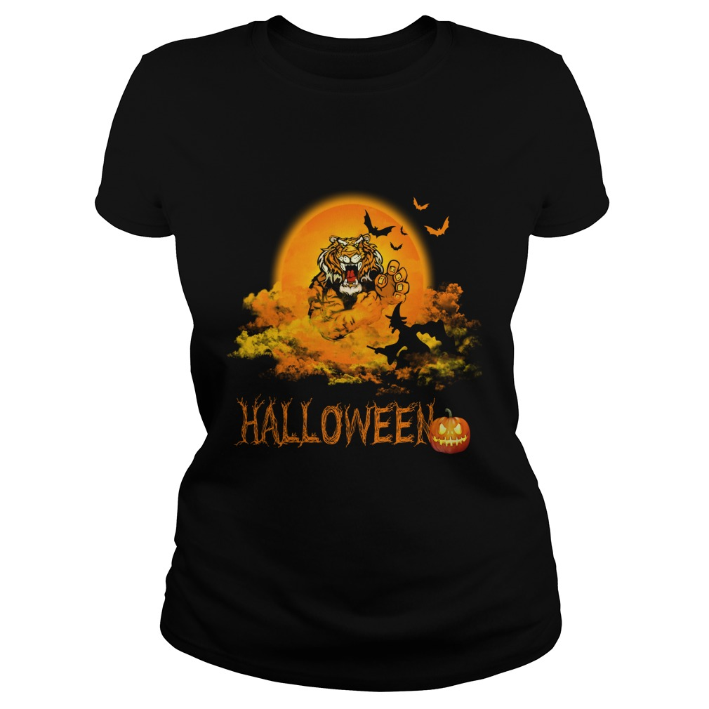 Happy Halloween Tiger Witches Ladies Tee
