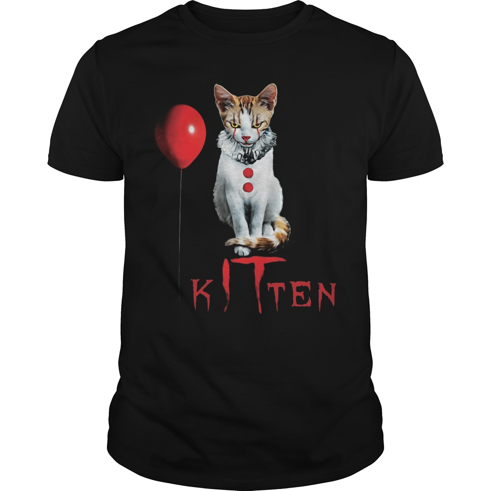 Kitten Clown Scary Fun Spooky Halloween Cat Funny Joke Guys Tee