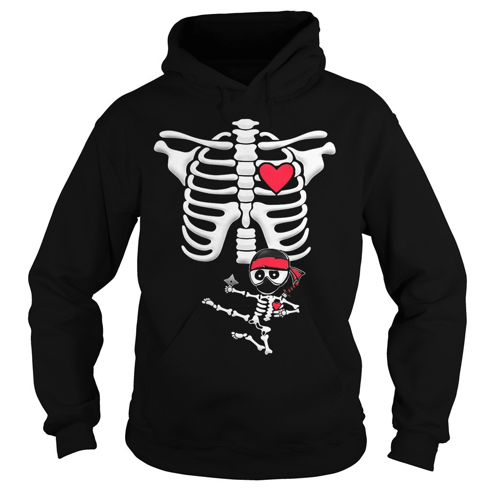 Maternity Baby Ninja Skeleton Halloween Hoodie