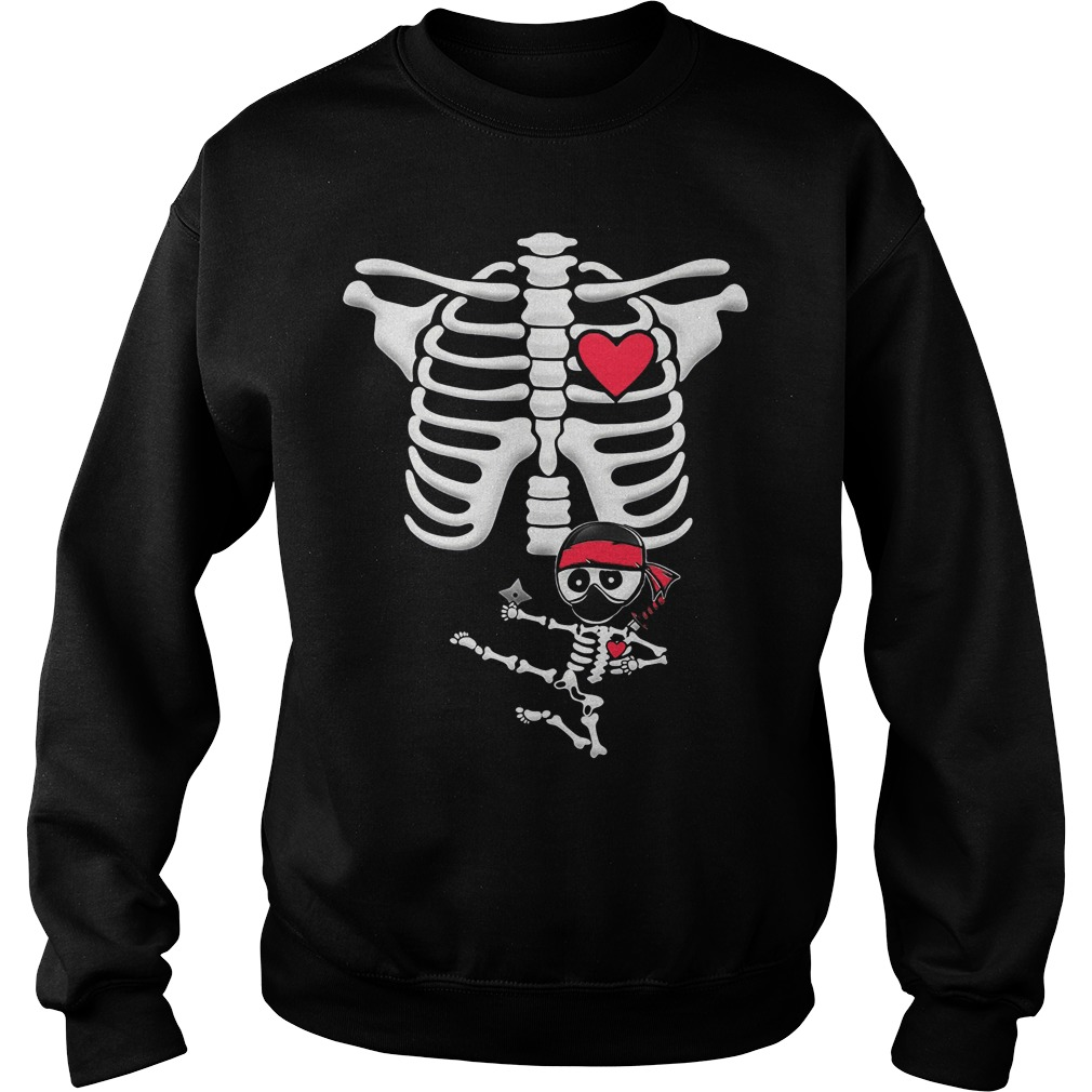 Maternity Baby Ninja Skeleton Halloween Sweat Shirt