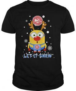Minion Atlanta Hawks Ugly Christmas Sweater Let It Snow Guys Tee