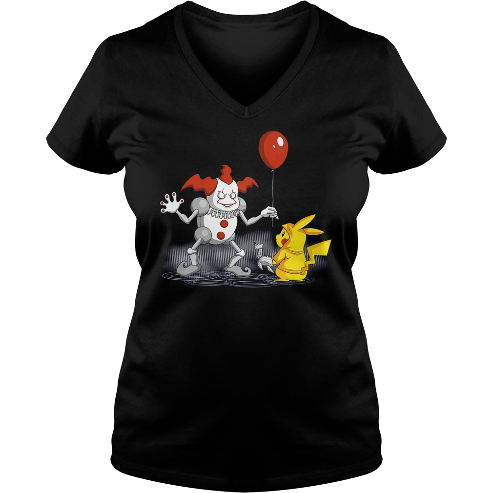 Mr It And Pikachu Ladies V Neck