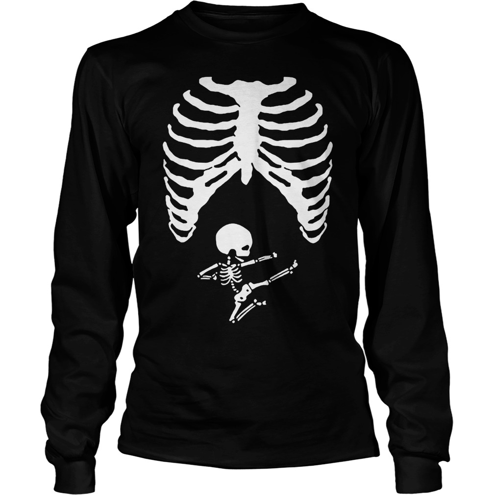 Halloween Skeleton Maternity Shirt Costume Pregnant Skeleton with Baby Girl True MATERNITY Fit Costume - Includes Cap, T-shirt and Leggings Signature Peaberry Halloween True-Maternity-Fit Long Sleeve T-Shirt. Scary Elegant Rib Cage with Arm Bones and the cutest ever Baby Girl skeleton. Halloween Skeleton Maternity Shirt Costume Pregnant.