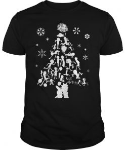 Rick Morty Christmas Tree Silhouette Guys Tee