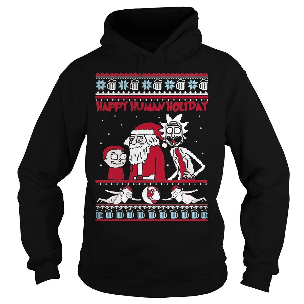 Rick Morty Happy Human Holiday Ugly Christmas Hoodie