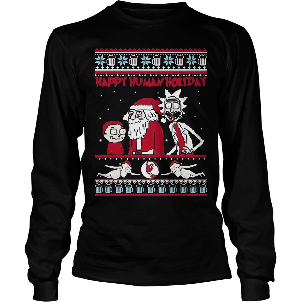 Rick Morty Happy Human Holiday Ugly Christmas Longsleeve