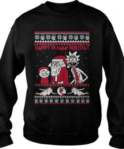 Rick Morty Happy Human Holiday Ugly Christmas Sweatshirt