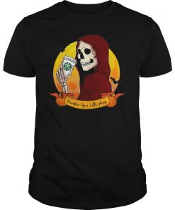 Skeleton With A Pumpkin Spice Latte Guys Tee