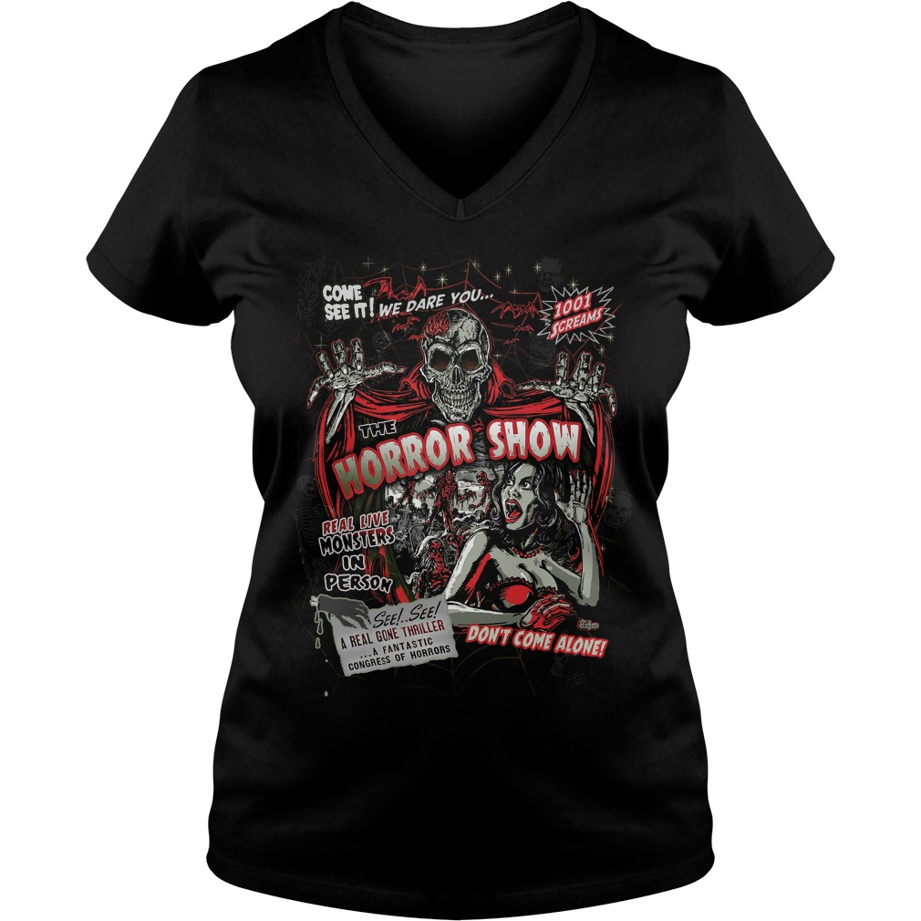 Spook Show Horror Movie Monsters Ladies V Neck