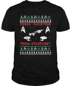 Star Trek Merry Christmas From Starffeet Ugly Guys Tee