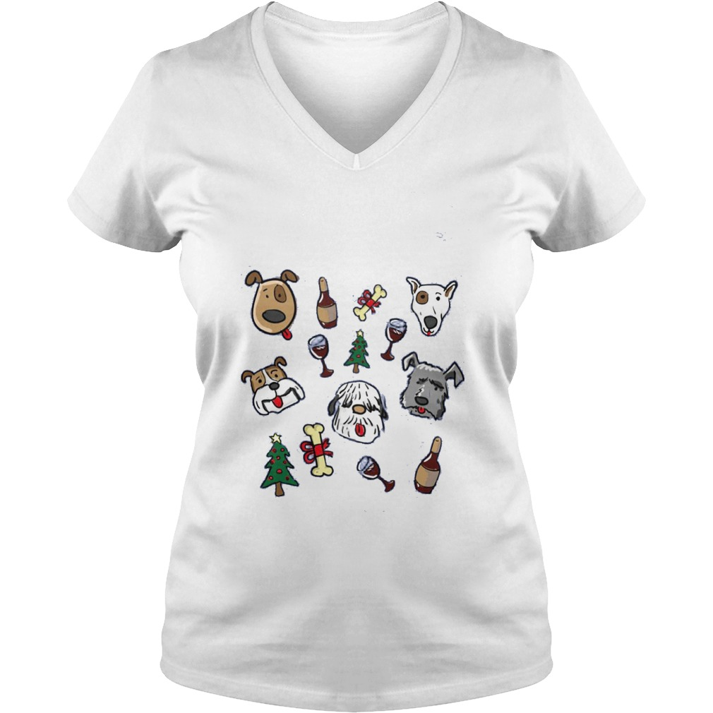 All I Want For Christmas Is Dogs And Wine Ladies V Neck