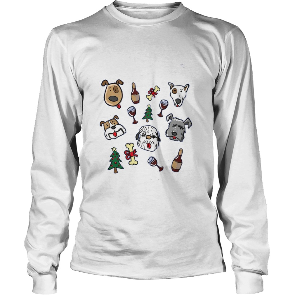 All I Want For Christmas Is Dogs And Wine Shirt Unisex Longsleeve Tee