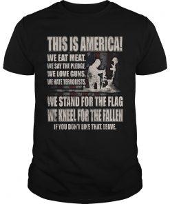 America Stand Flag Kneel Fallen Guys Tee