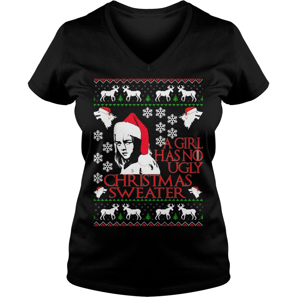 Girl No Ugly Christmas Sweater Vneck