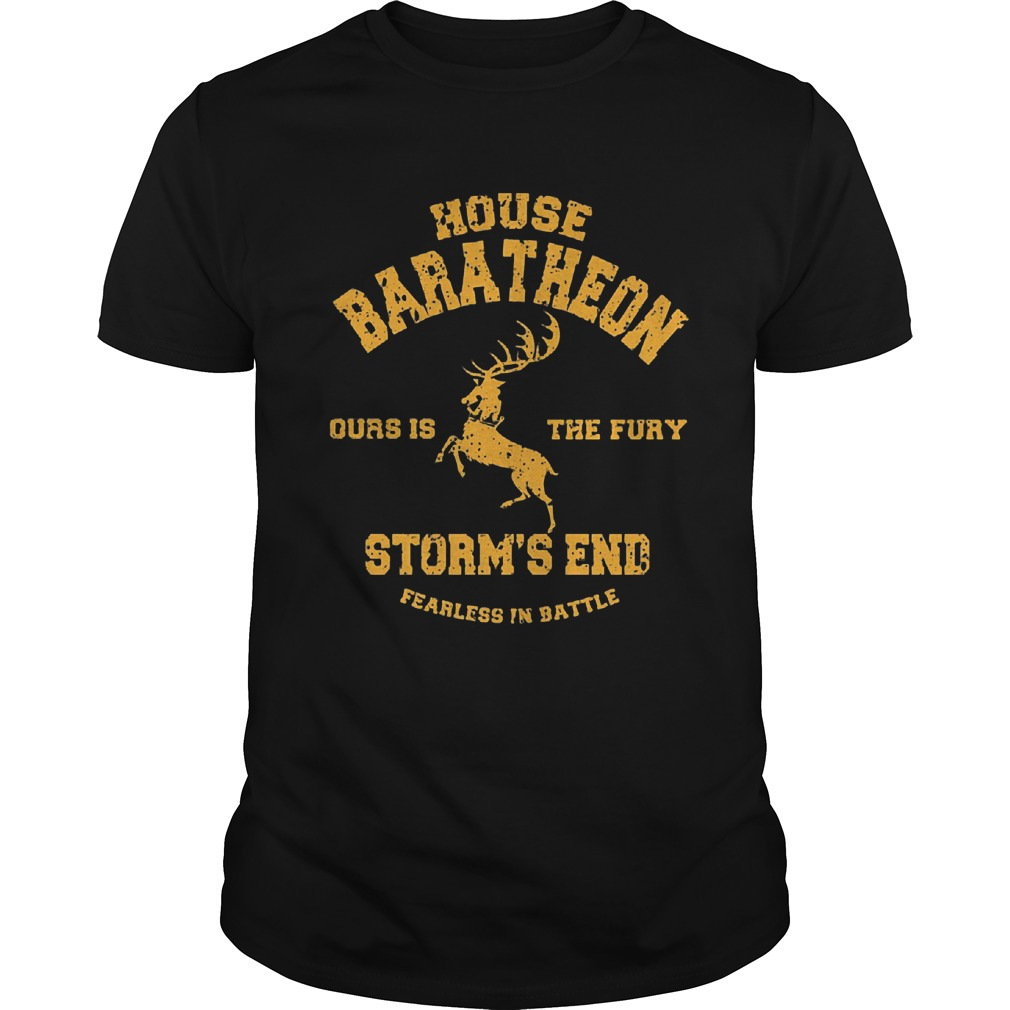 House Baratheon Fury Storms End Fearless Battle Guys Tee