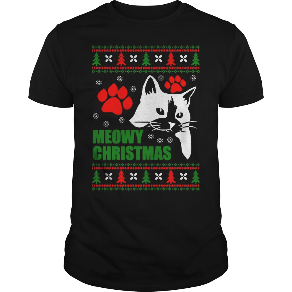 Meowy Ugly Christmas Guys Tee