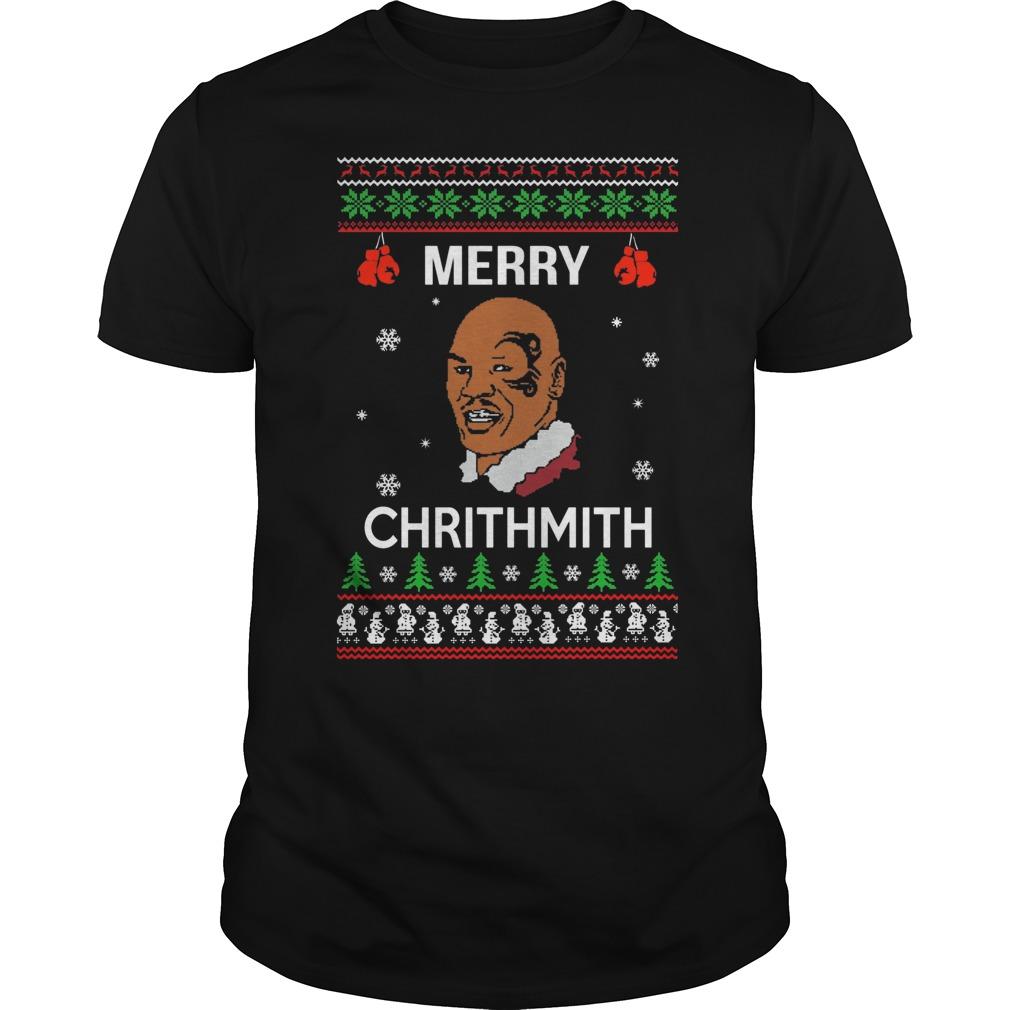 Mike Tyson Merry Chrithmith Christmas Guys Tee