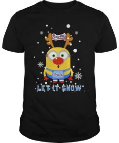 Minion Atlanta Braves Ugly Christmas Sweater Let It Snow Guys Tee