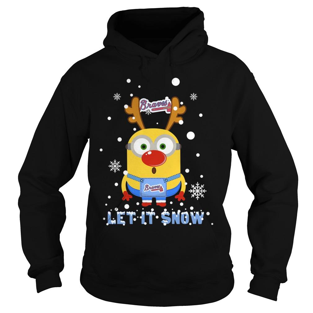 minion atlanta braves ugly christmas sweater let it snow hoodie - Minion Christmas Sweater