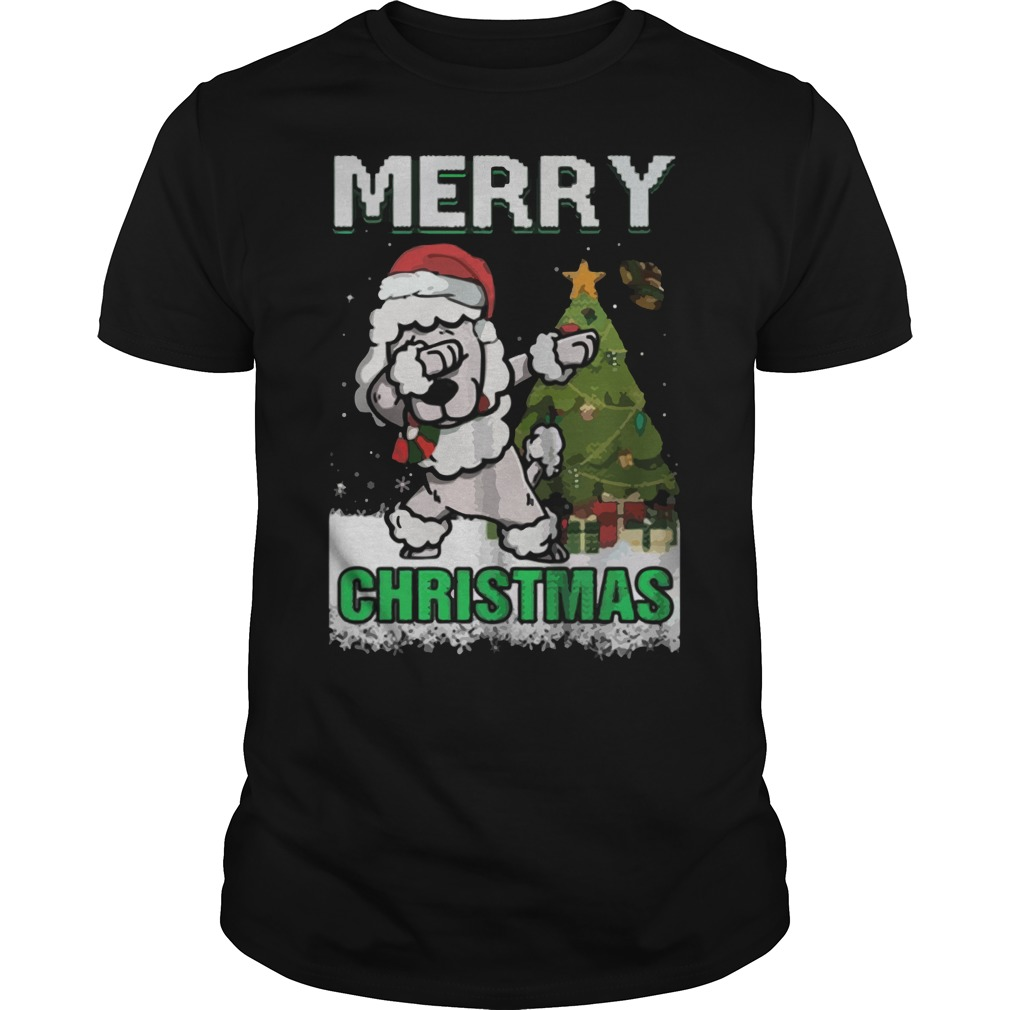 Poodle Claus Dabbing Merry Ugly Christmas Guys Tee