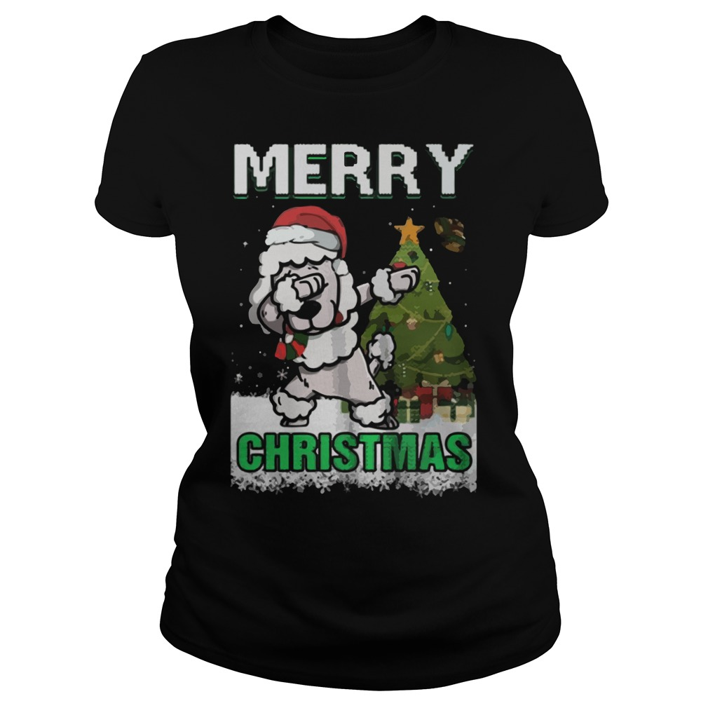 Poodle Claus Dabbing Merry Ugly Christmas Ladies Tee