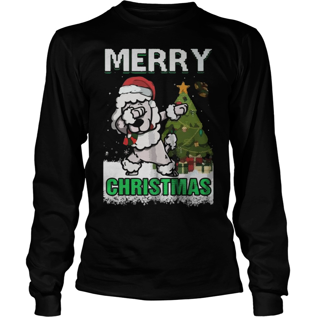 Poodle Claus Dabbing Merry Ugly Christmas Unisex Longsleeve