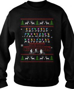 Stranger Things Merry Christmas Christmas Lights Alphabet Sweater