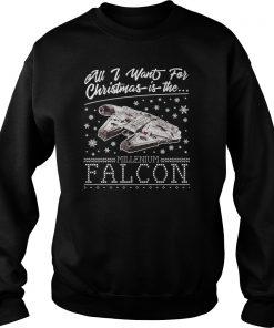 Want Christmas Millennium Falcon Star Wars Sweat Shirt