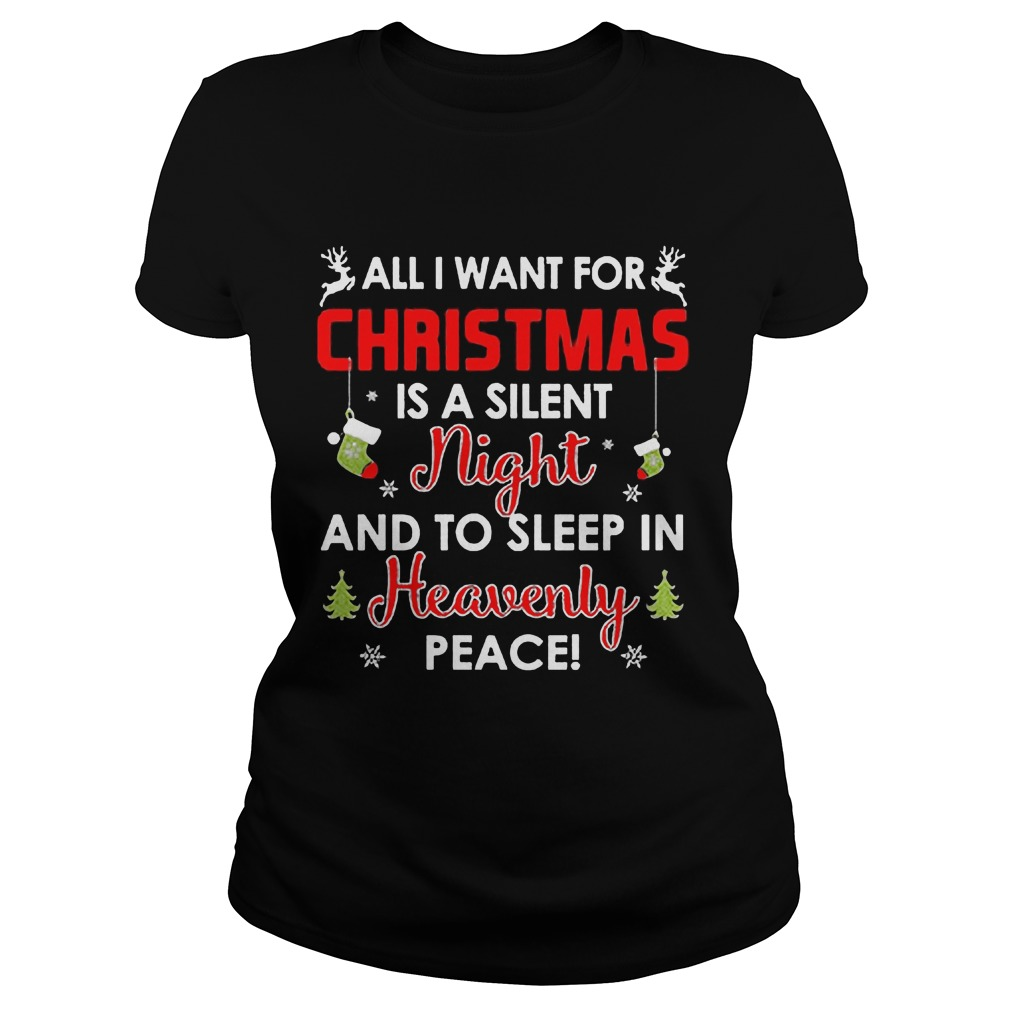 Want Christmas Silent Night Sleep Heavenly Peace Ugly Christmas Ladies
