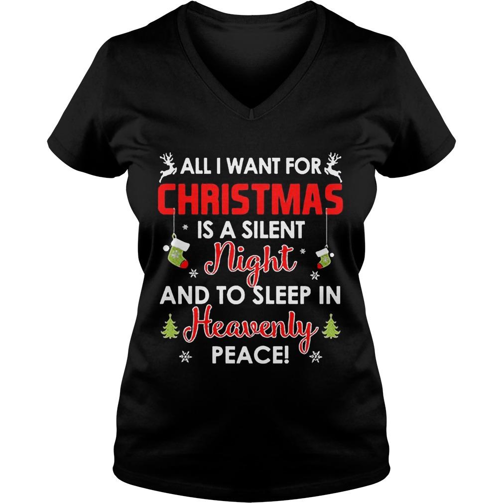 Want Christmas Silent Night Sleep Heavenly Peace Ugly Christmas Vneck