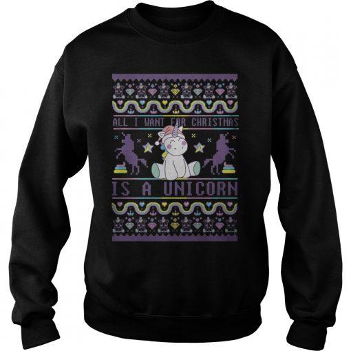 Want Christmas Unicorn Sweat Shirt