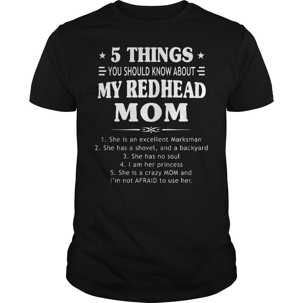 5 Things Redhead Mom Guys Tee