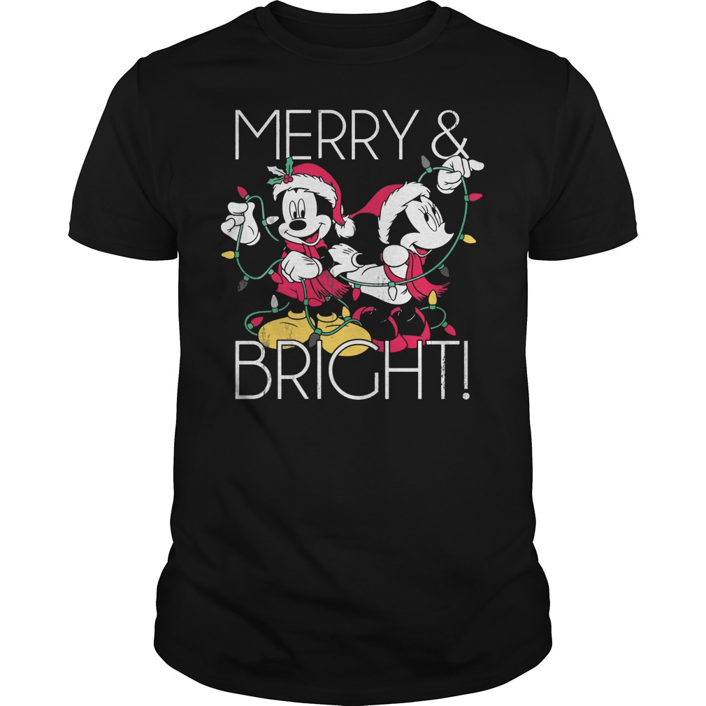 Disney Mickey Mouse Merry Bright Christmas Shirt