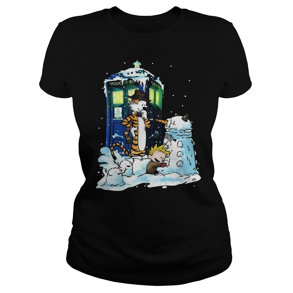 Doctor Calvin Hobbes Mashup Doctor Sweat Ladies Tee