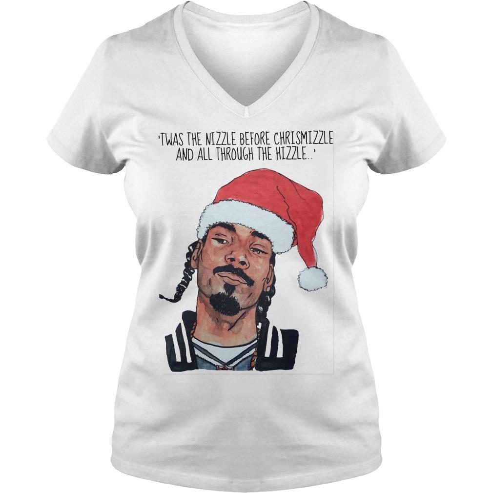 Snoop Dogg Twas Nizzle Christmizzle Ladies V Neck