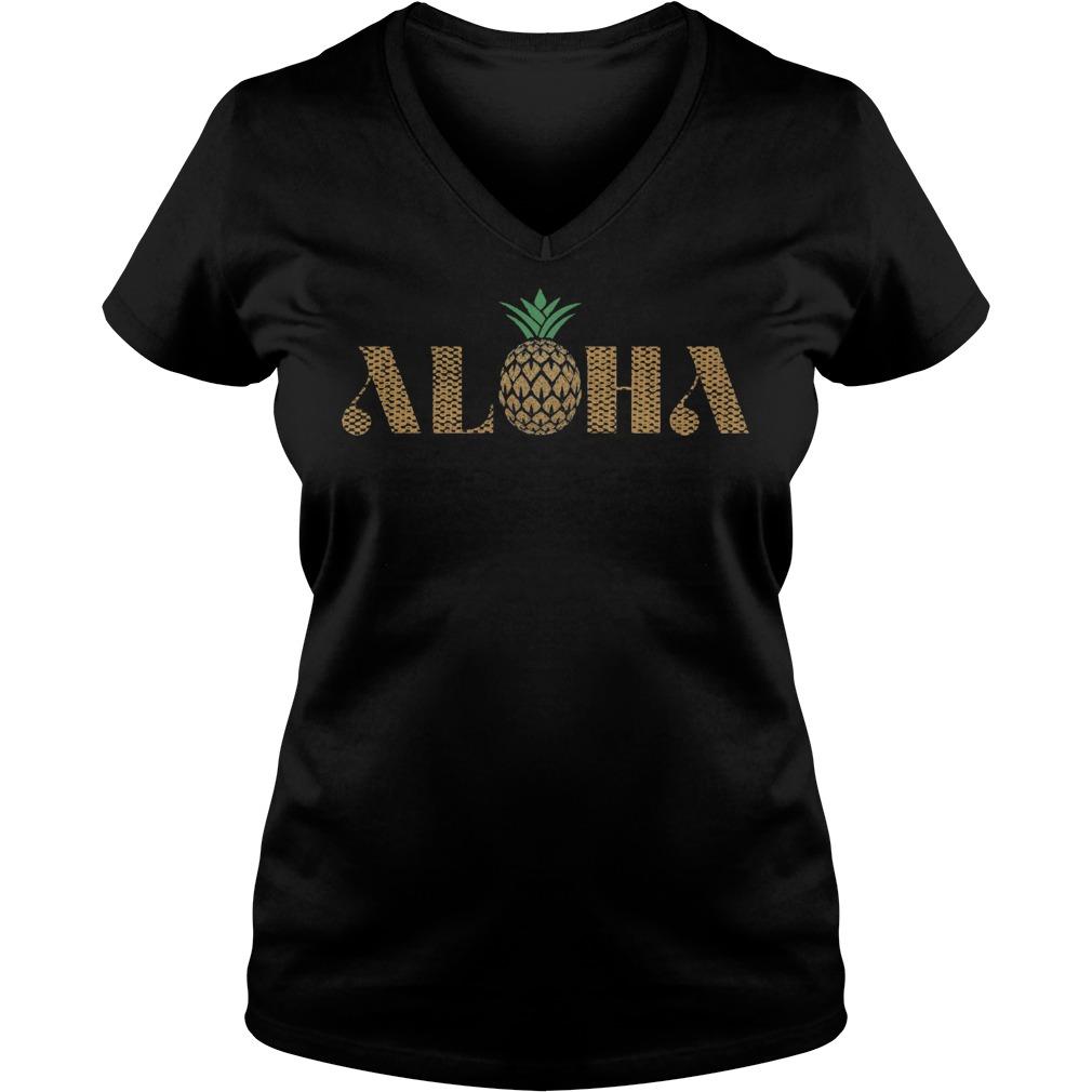 Vintage Aloha Pineapple V Neck
