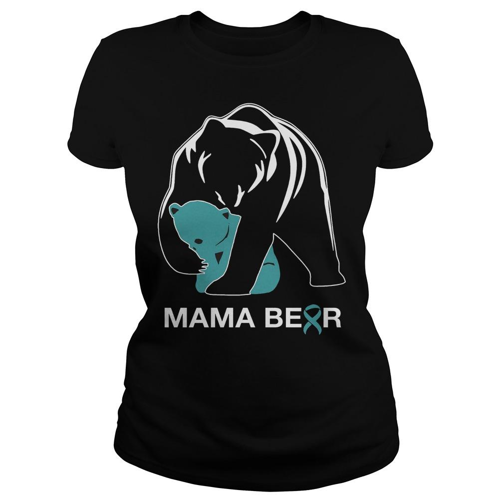 Mama Bear Teal Ribbon Ladies